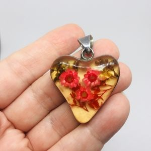 1970's Sterling Pressed Flowers Pendant Mexico